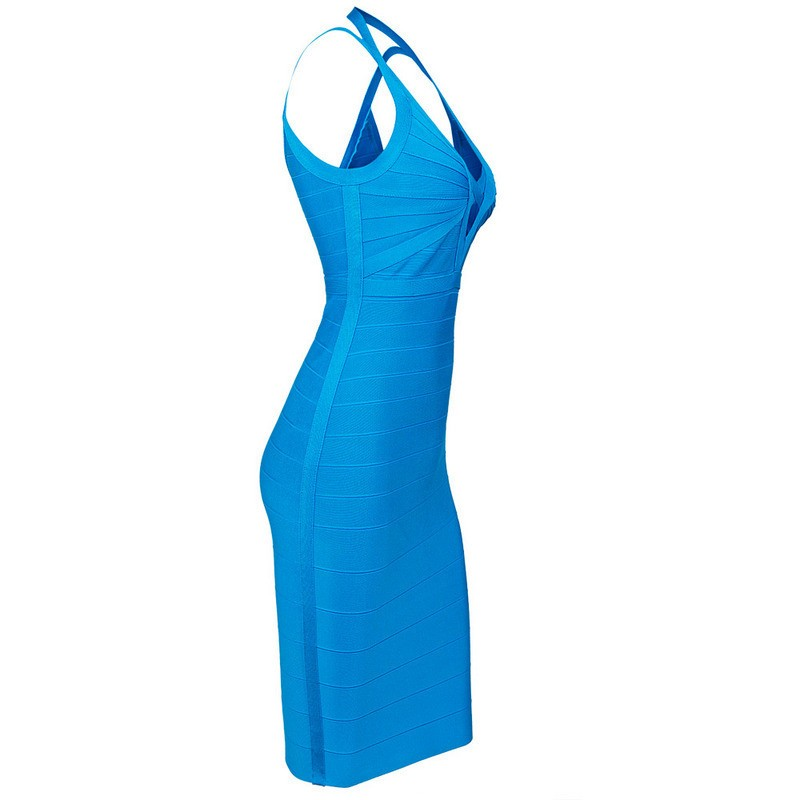 Brands,Dresses,New,Collections - Posh Girl Blue V-Front Halter Bandage Dress