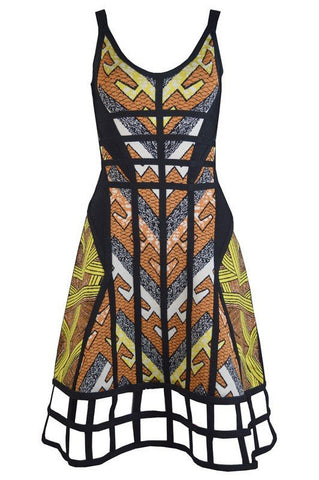 Brands,Dresses,New,Collections - Posh Girl Fit And Flair Print Cut-Out Bandage Dress