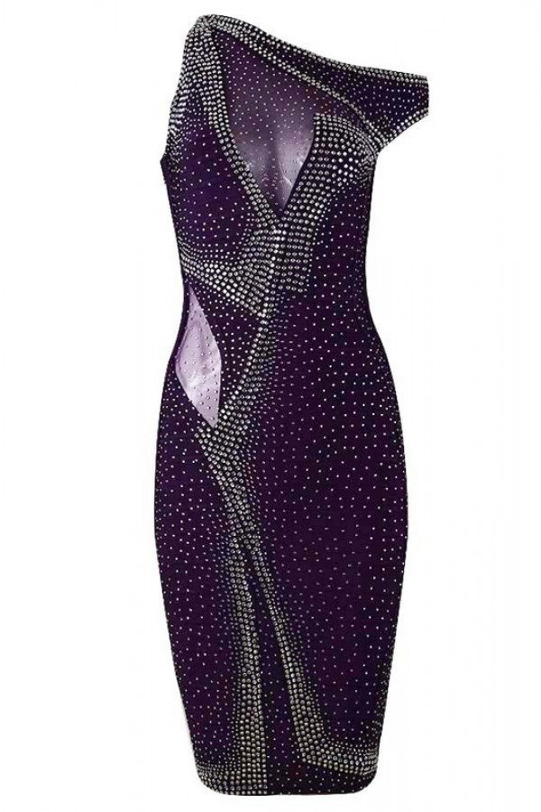 Posh Girl Glamorous Lady Rhinestone Bandage Dress-POSH GIRL-Posh Girl