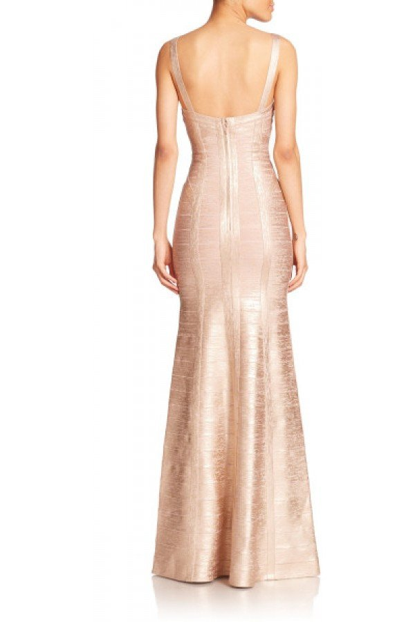 Brands,Dresses,New,Collections - POSH GIRL Gold Foil Print Bandage Gown