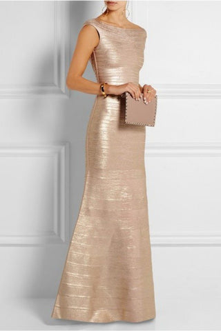 Brands,Dresses,New,Collections - POSH GIRL Gold Foil Scoop Back Bandage Gown
