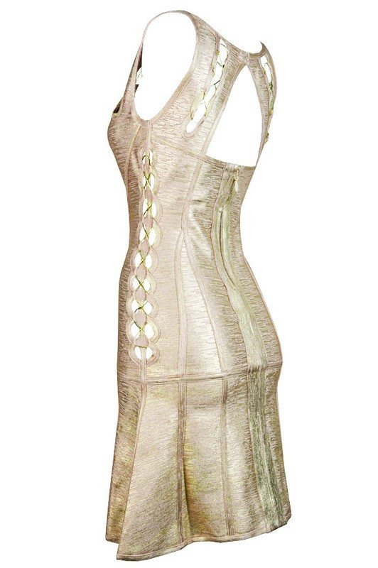 Brands,Dresses,New,Collections - Posh Girl Gold Open Back Foil-Print Bandage Dress