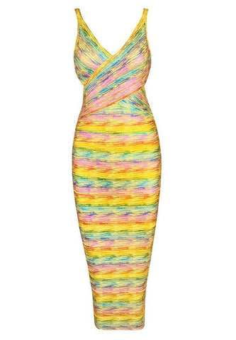 Brands,Dresses,New,Collections - Posh Girl Hawaiian Babe Foil Print Bandage Dress