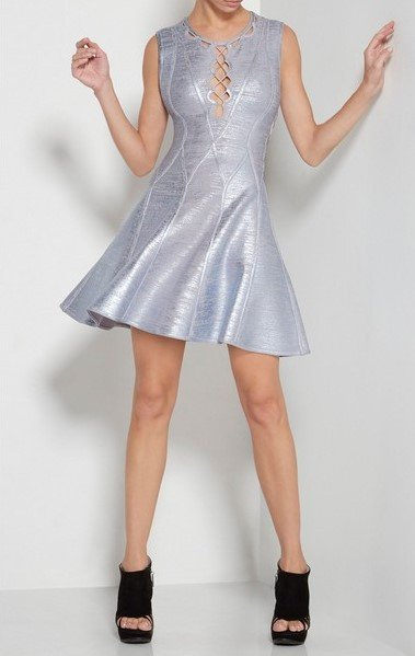 Posh Girl Ice Blue Foil-Print Bandage Dress-POSH GIRL-Posh Girl