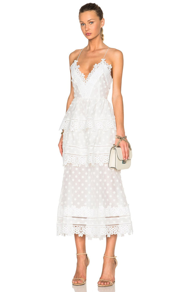 Kiara White Lace Midi Dress-POSH GIRL-Posh Girl