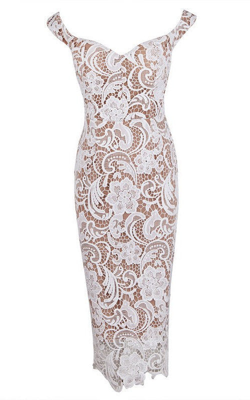 Brands,Dresses,New,Collections - Posh Girl Lace Off Shoulder Midi Dress