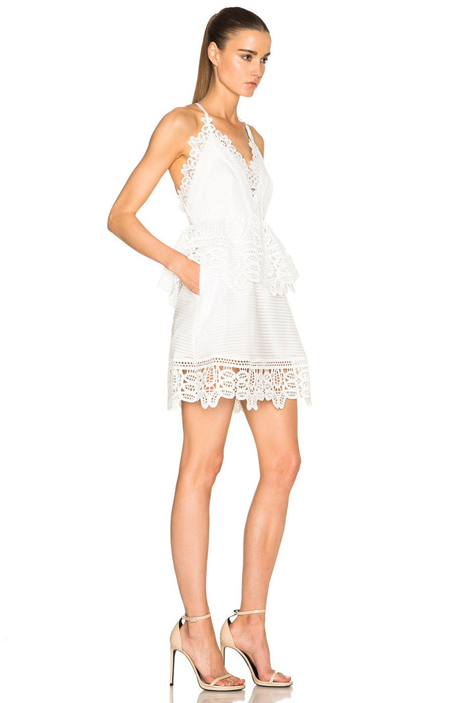 Brands,Dresses,New,Collections - Posh Girl Lace Trim Peplum Mini Dress