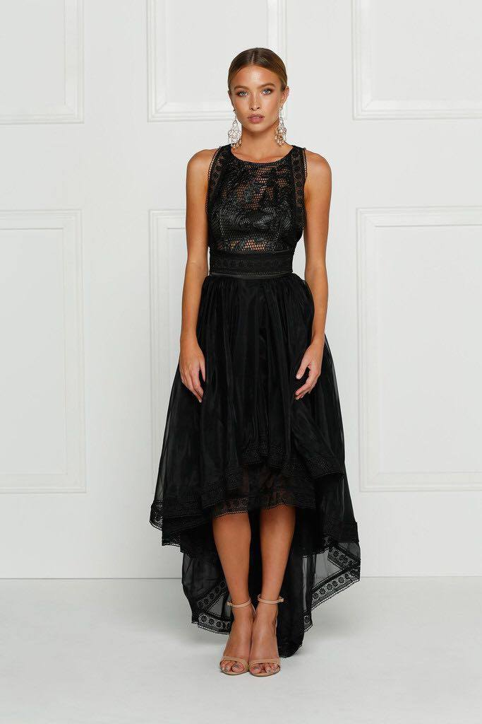 POSH GIRL Lilly Black Lace High-Low Dress-POSH GIRL-Posh Girl