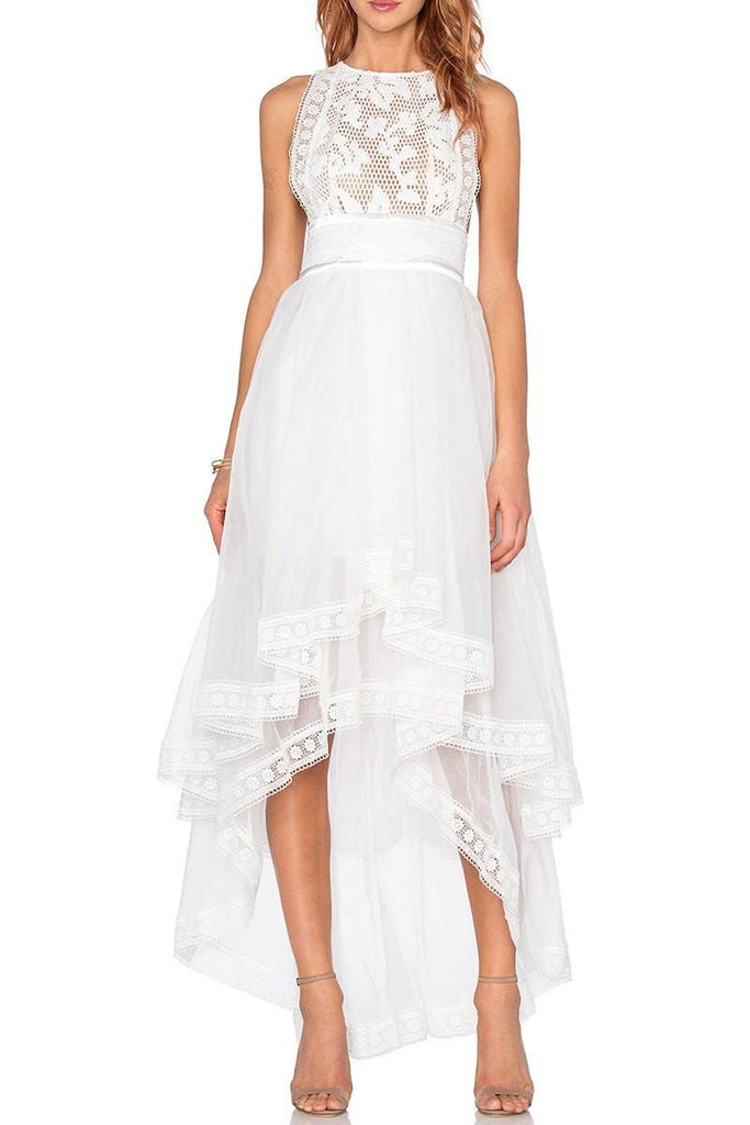 Lilly White Lace High-Low Cocktail Dress-POSH GIRL-Posh Girl