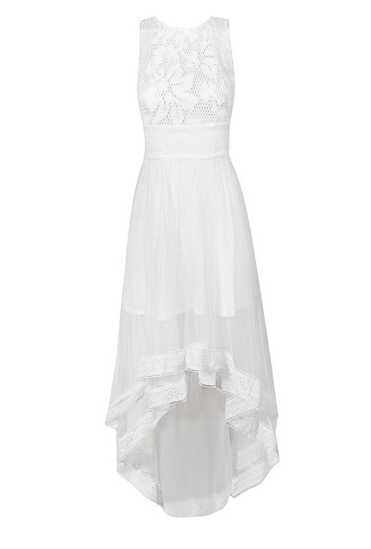 Brands,Dresses,New,Collections - POSH GIRL Lilly White Lace High-Low Dress