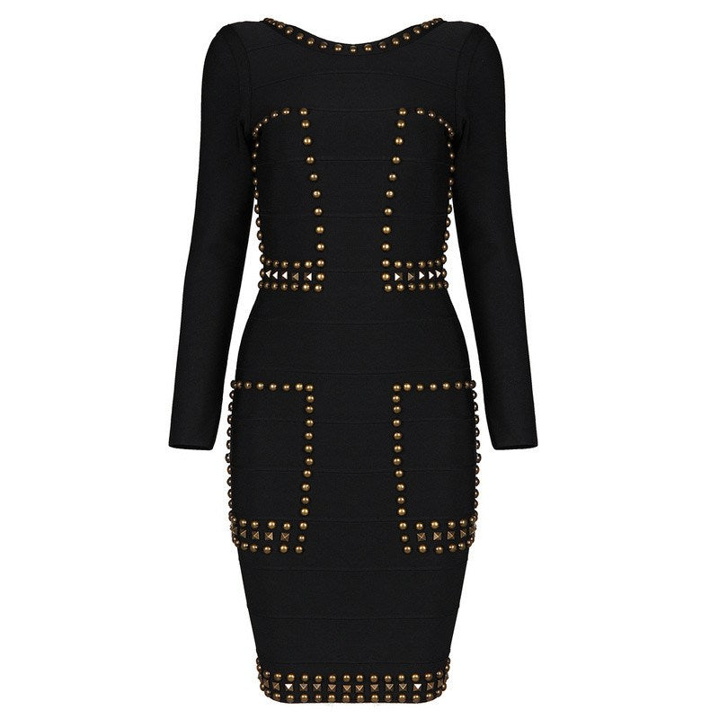 Long Sleeve Studded Bandage Dress-POSH GIRL-Posh Girl