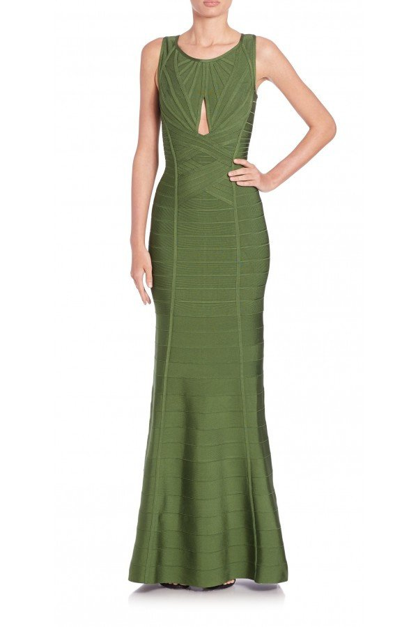 Olive Green Open Back Bandage Gown-POSH GIRL-Posh Girl
