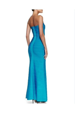 Brands,Dresses,New,Collections - Posh Girl Peacock Blue Strapless Bandage Gown