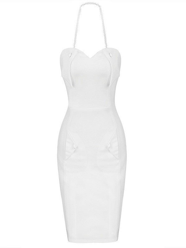 Brands,Dresses,New,Collections - Posh Girl Pearly White Body-con Halter Dress