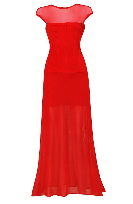 Posh Girl Red Sheer Insert Bandage Gown-POSH GIRL-Posh Girl