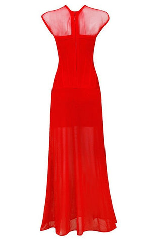 Brands,Dresses,New,Collections - Posh Girl Red Sheer Insert Bandage Gown