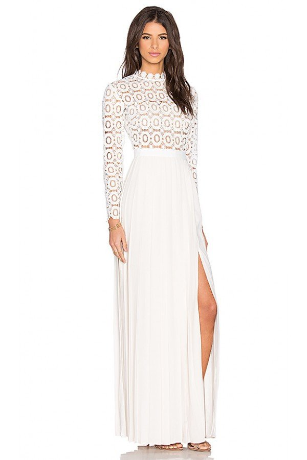 White Pleated Skirt Embroidered Lace Maxi Dress-POSH GIRL-Posh Girl