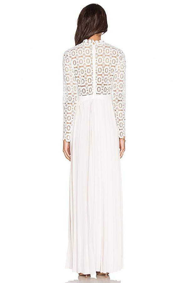 White Pleated Skirt Embroidered Lace Maxi Dress for $1.98 at Posh Girl
