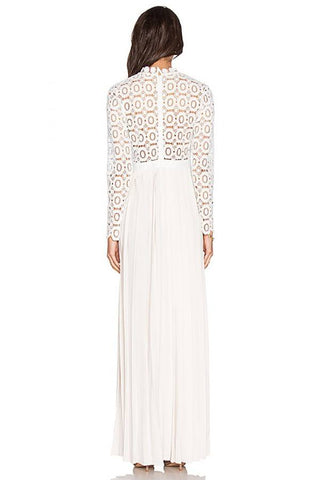 Brands,Dresses,New,Collections - Posh Girl White Embroidered Lace Gown