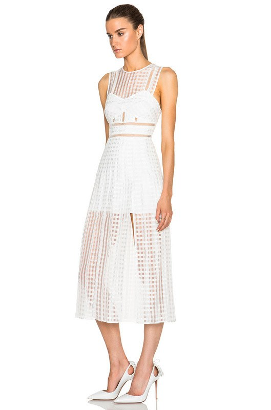 Posh Girl Antonina White Midi Dress-POSH GIRL-Posh Girl