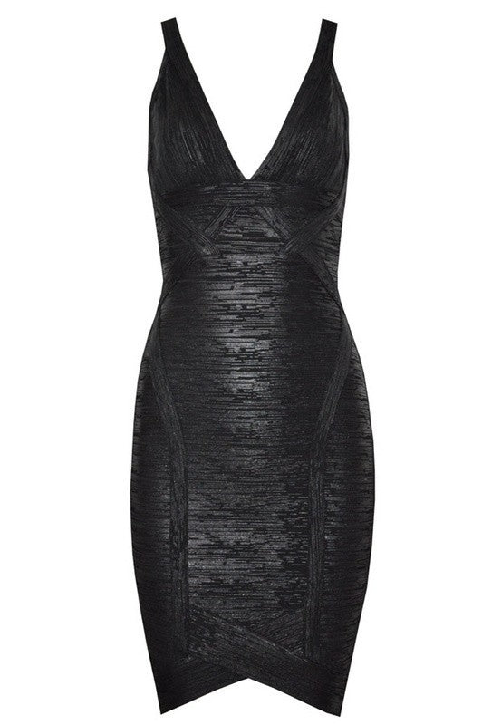 Posh Girl Black Snake Foil Print Bandage Dress-POSH GIRL-Posh Girl