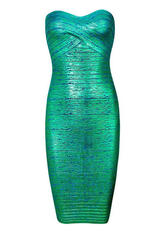 Strapless Foil Print Bandage Mini Dress for $1.78 at Posh Girl