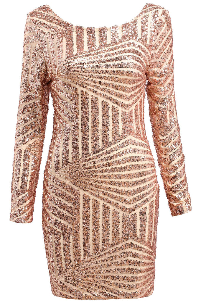 Gold Open Back Sequence Dress-POSH GIRL-Posh Girl