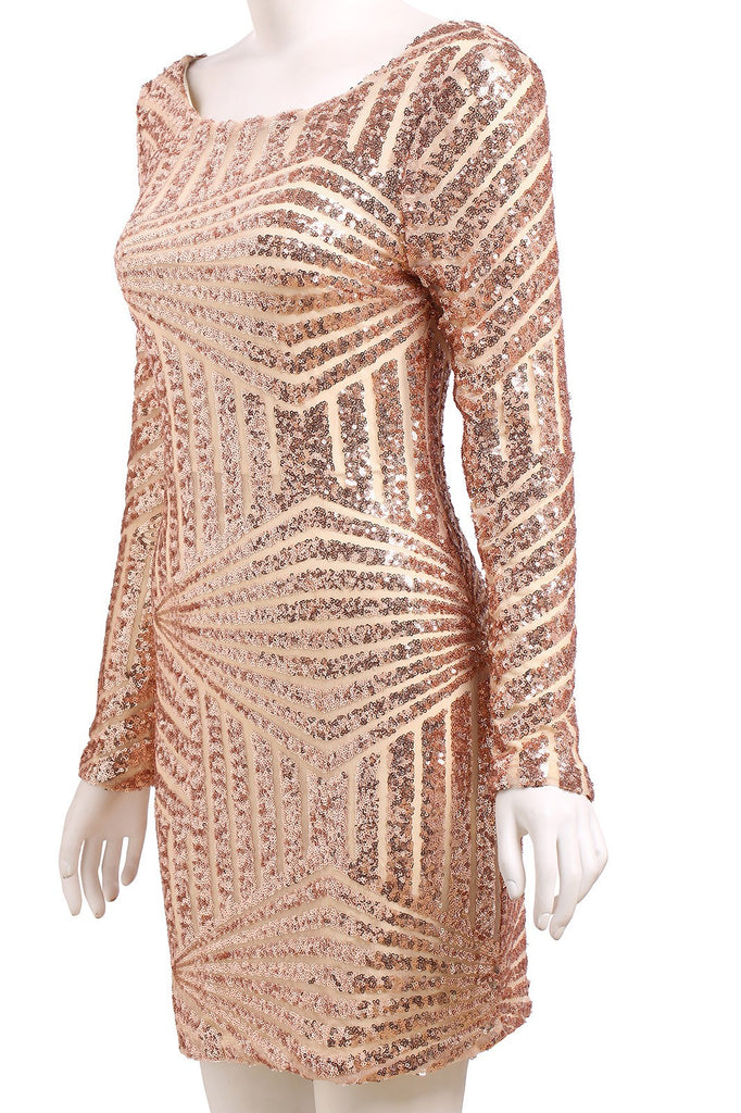 Gold Open Back Sequence Dress for $0.98 at Posh Girl