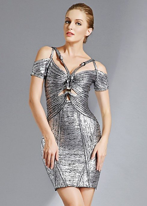 Mya Bella Silver Foil Print Bandage Dress-POSH GIRL-Posh Girl