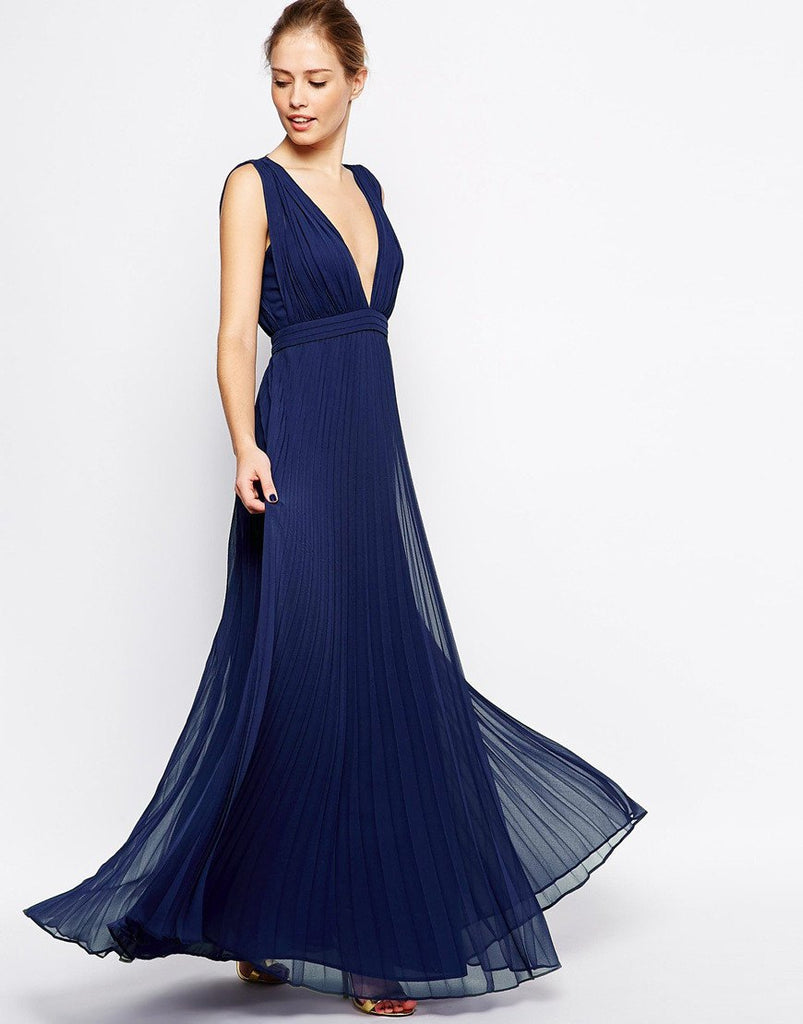 Navy Blue Pleated Maxi Dress for $1.28 at Posh Girl