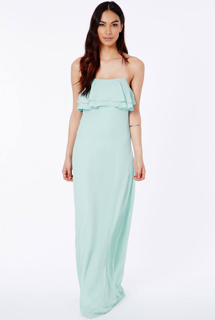 POSH GIRL Ruffled Ocean Blue Maxi Dress-POSH GIRL-Posh Girl