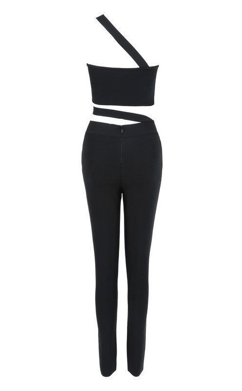 Brands,New,Apparel - Posh Girl Bond Chick Black Bandage Jumpsuit