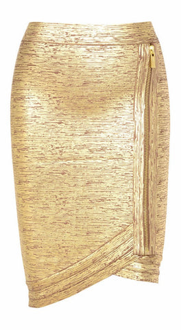 Brands,New,Apparel - Posh Girl Gold Foil Print Asymmetrical Bandage Skirt