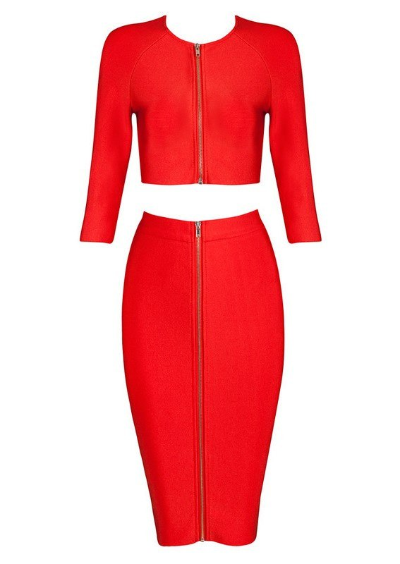 Posh Girl Red High Waist Zip Front Skirt Set-POSH GIRL-Posh Girl