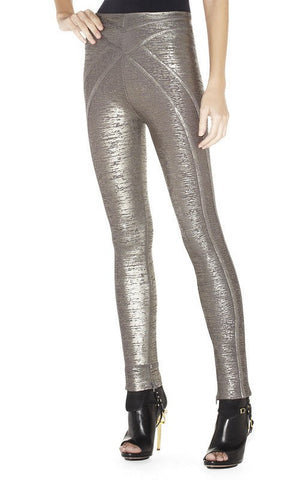 Brands,New,Apparel - Posh Girl Silver Foil Print Bandage Pants