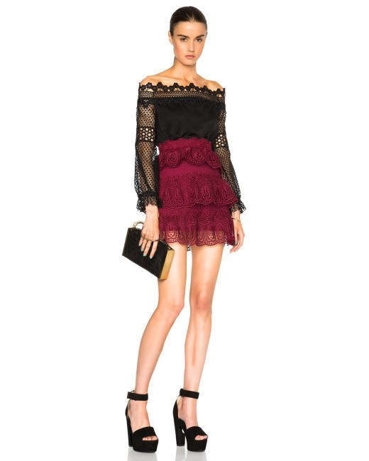 Burgundy Embroidered Lace Ruffled Mini Skirt-POSH GIRL-Posh Girl