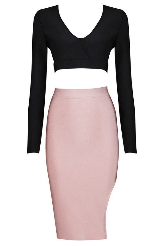 Brands,New,Collections,Apparel,Dresses - Posh Girl Pink And Black High Waist Bandage Skirt Set