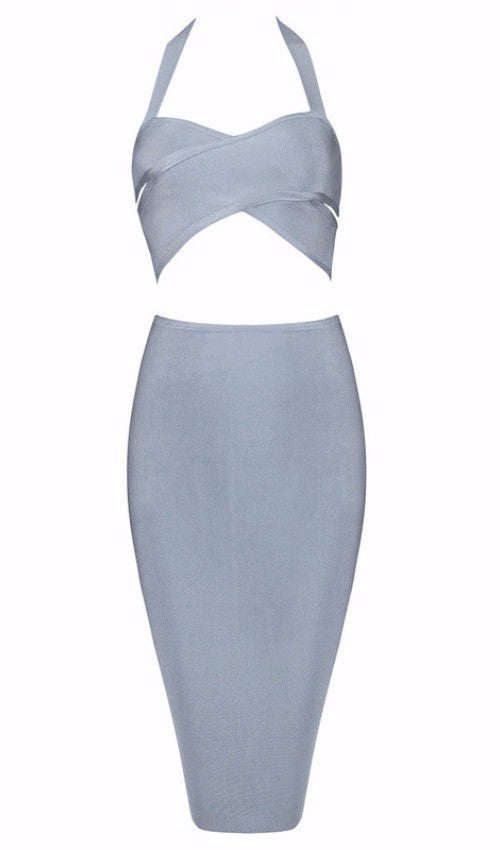 Posh Girl Baby Blue Crop Bandage Skirt Set-POSH GIRL-Posh Girl