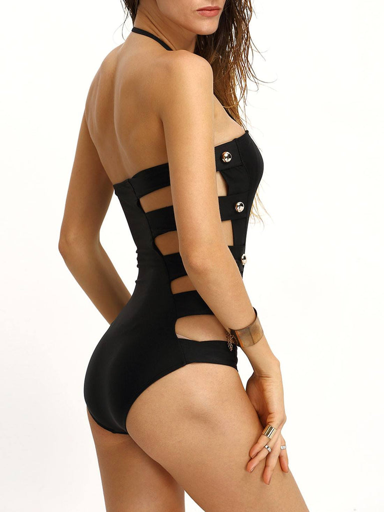 Brands,New,Collections,Apparel - Posh Girl Black Onyx Cut-Out Swimsuit