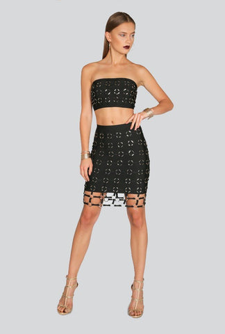 Brands,New,Collections,Apparel - Posh Girl Buckle-Up Black Bandage Skirt Set