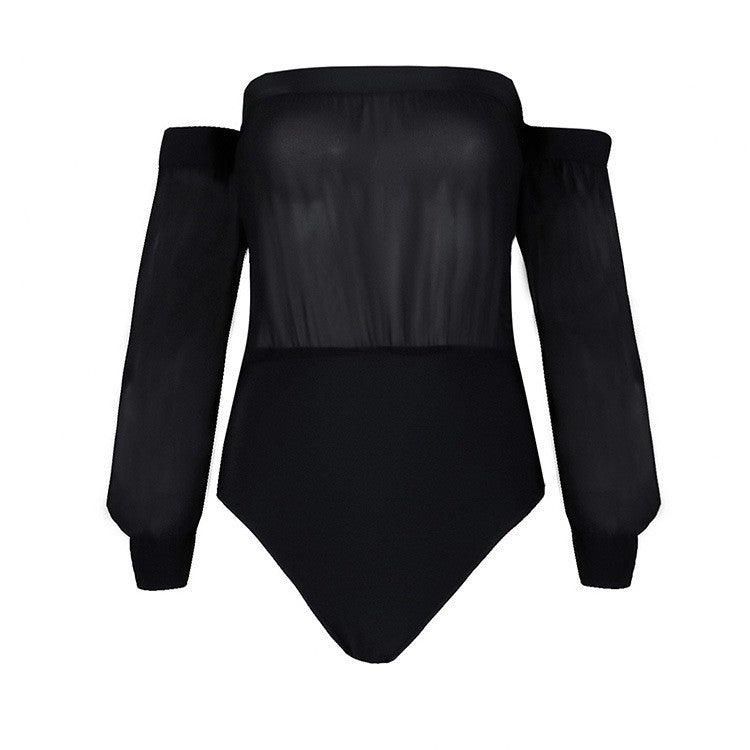 Brands,New,Collections,Apparel - Posh Girl Chiffon And Bandage Off Shoulder Bodysuit