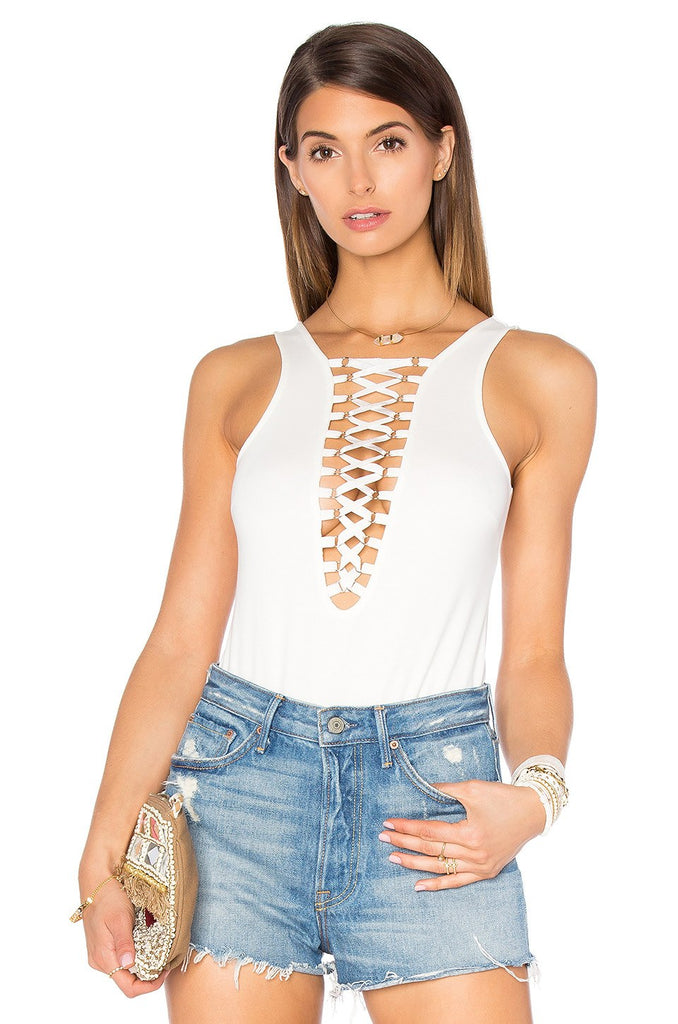 Brands,New,Collections,Apparel - Posh Girl Corset Lace-Up Bandage Bodysuit