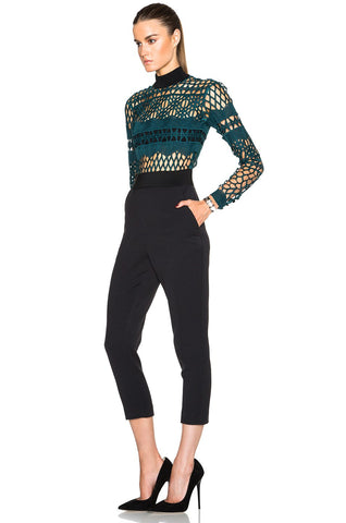Brands,New,Collections,Apparel - Posh Girl Green Cutwork Lace Jumpsuit