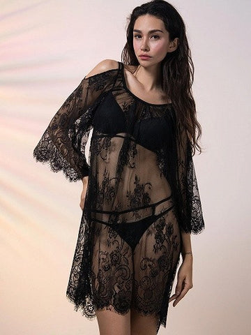 Brands,New,Collections,Apparel - Posh Girl Lace Cold Shoulder Cover-Up