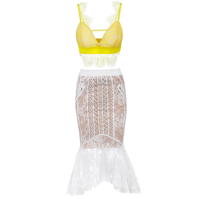 Brands,New,Collections,Apparel - Posh Girl Miss Daisy Lace Body-Con Skirt Set