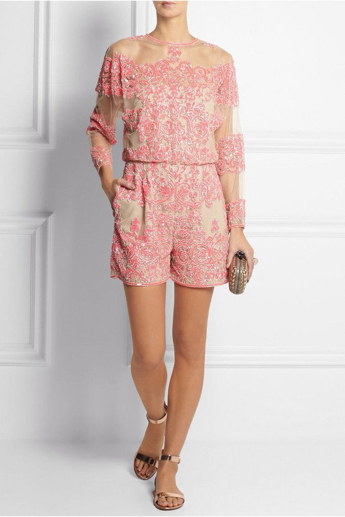 Posh Girl Pink Sequins Long Sleeve Romper-POSH GIRL-Posh Girl