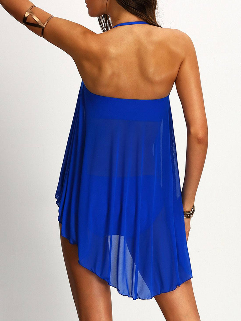 Brands,New,Collections,Apparel - Posh Girl Royal Blue Crochet & Chiffon Swimsuit