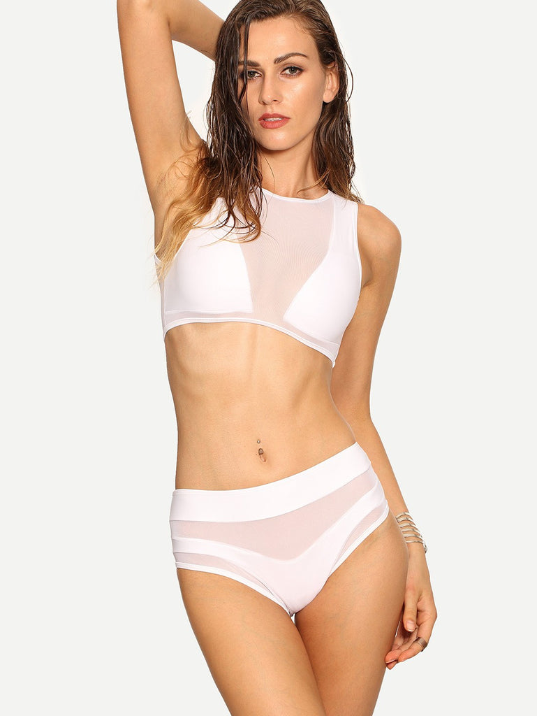 Brands,New,Collections,Apparel - Posh Girl White Sheer Insert Bikini Swimsuit