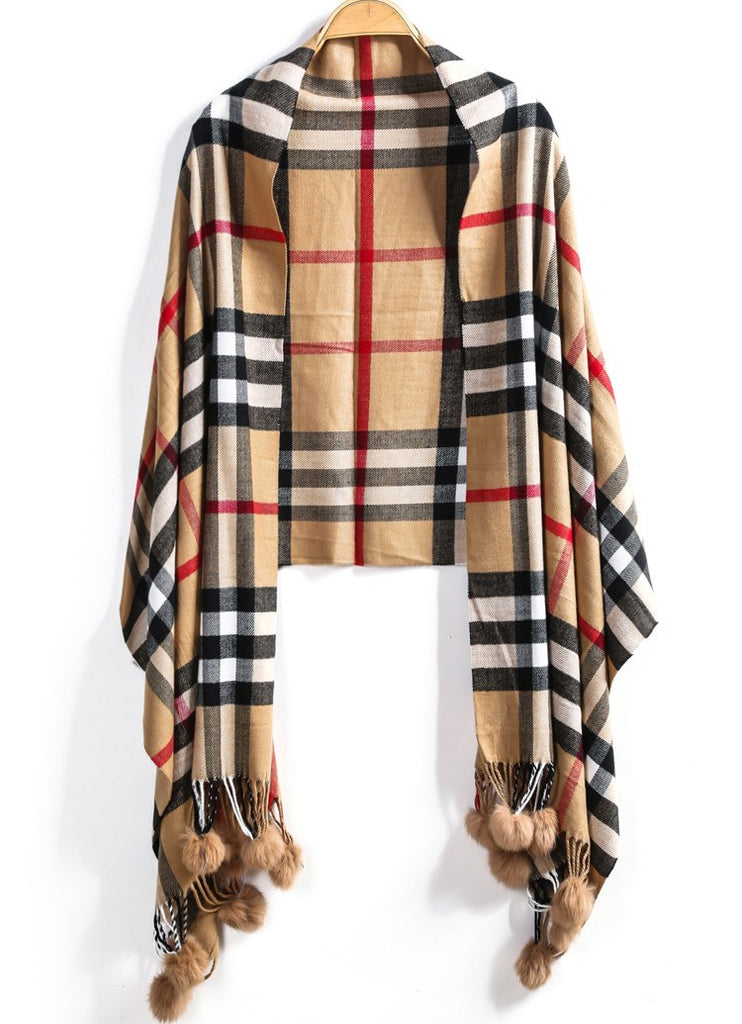 Plaid Ball Fringe Cashmere Scarf Wrap-POSH GIRL-Posh Girl