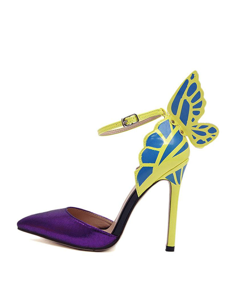 Purple Butterfly Stiletto Shoes-POSH GIRL-Posh Girl